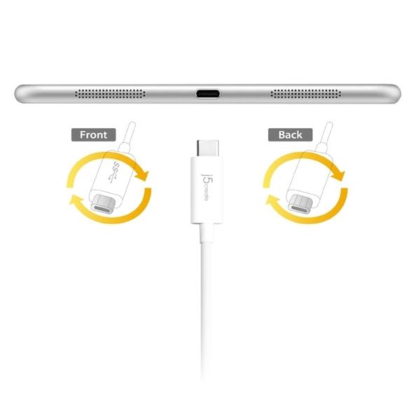j5create USB-C - USB-A synk- och laddkabel, med vändbar USB-C kontakt