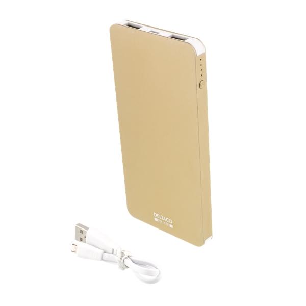 Deltaco Prime powerbank, 4000mAh med USB sladd - guld