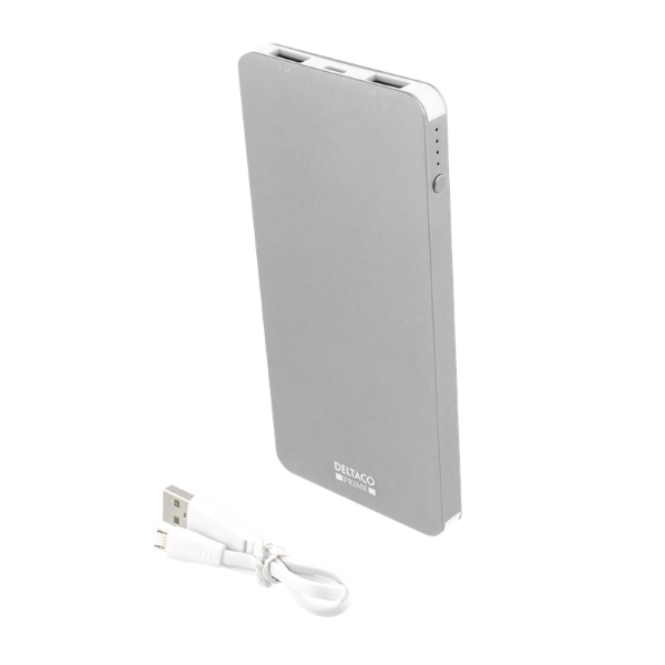Deltaco Prime powerbank, 4000mAh med USB sladd - silver