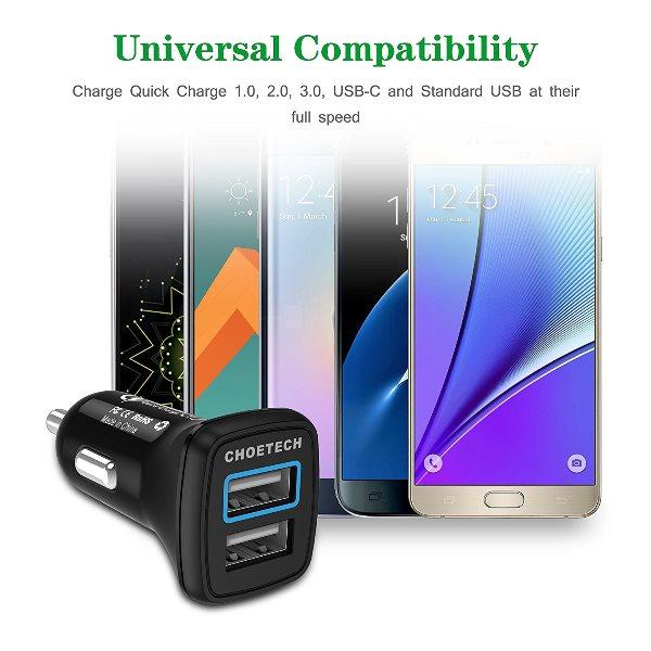 Choetech mobilladdare för bilen med QC 3.0 för alla telefoner