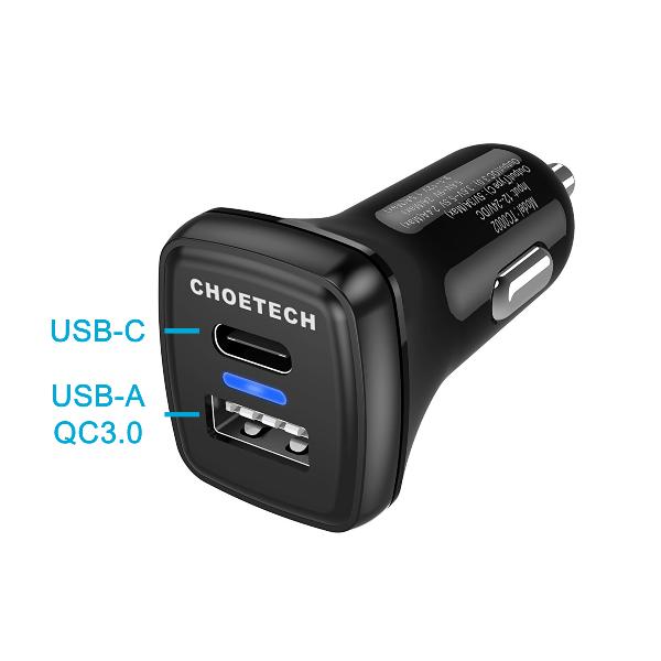 Choetech mobilladdare för bilen med QC 3.0 & USB-C