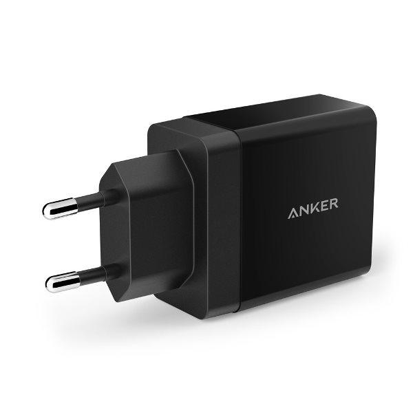 Anker mobilladdare med 2 uttag - svart