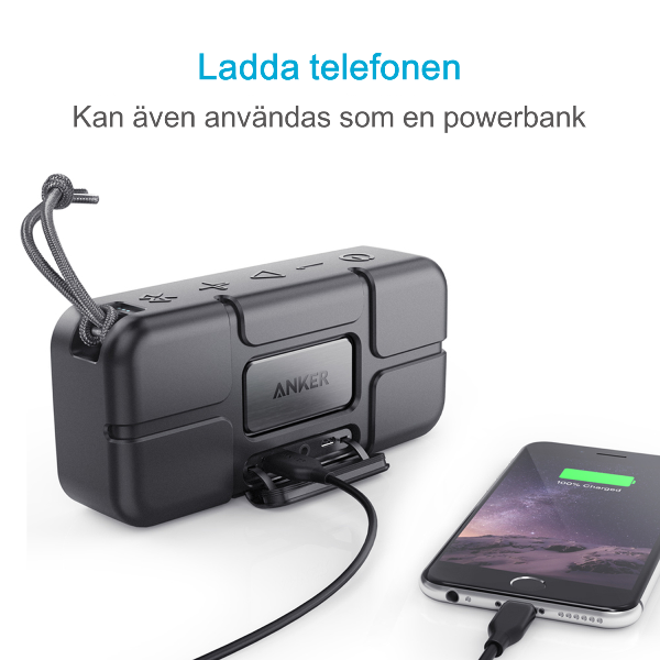 Anker SoundCore Sport XL bluetooth högtalare fungerar som powerbank