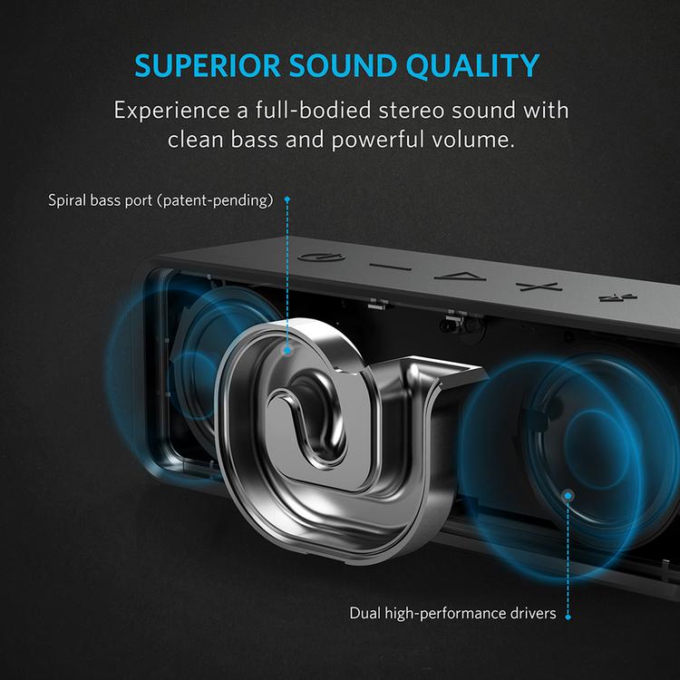 Anker SoundCore bluetooth-högtalare med bassnäcka