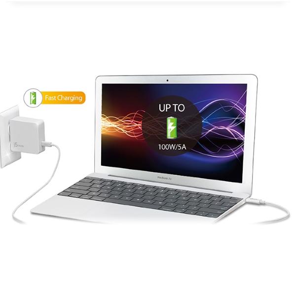 j5create USB-C till USB-C kabel, 100W, 70cm laddar en dator