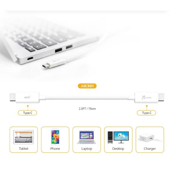 j5create USB-C till USB-C kabel, 100W, 70cm för alla typer av enhet