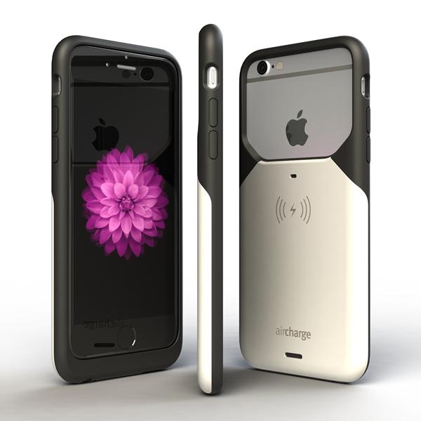 Aircharge iPhone 6/6s MFi Qi trådlöst laddningsskal - Svart-Vit