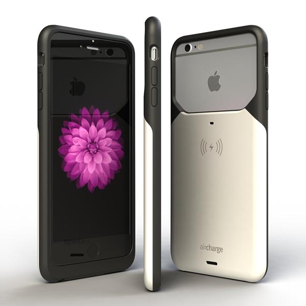 Aircharge iPhone 6 Plus, 6s Plus MFi Qi trådlöst laddningsskal - Svart-Vit