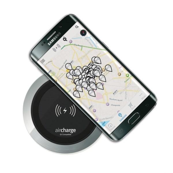 Aircharge trådlös laddare för montering aluminium svart laddar telefon
