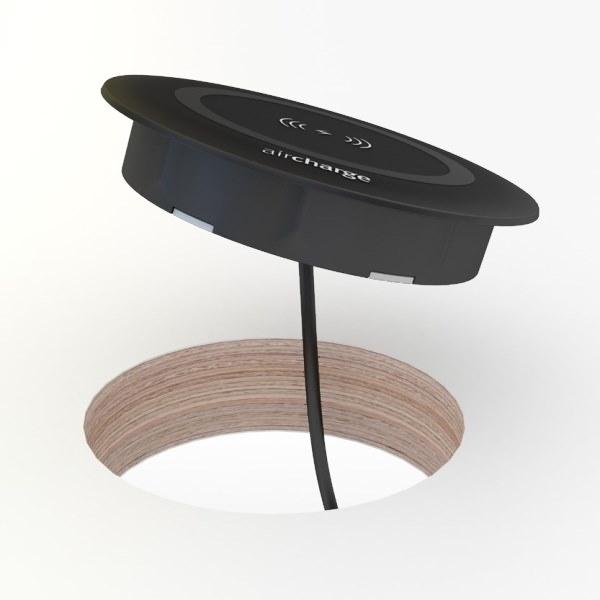 Aircharge trådlös laddare för montering svart monteras i bordsskiva