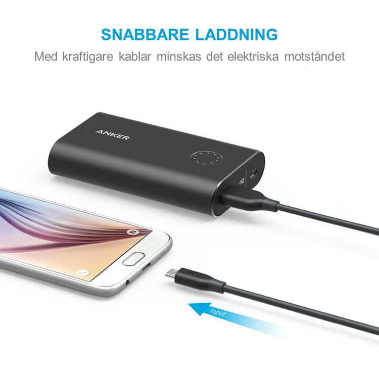 Anker PowerLine mikro-USB kabel för snabbare laddning