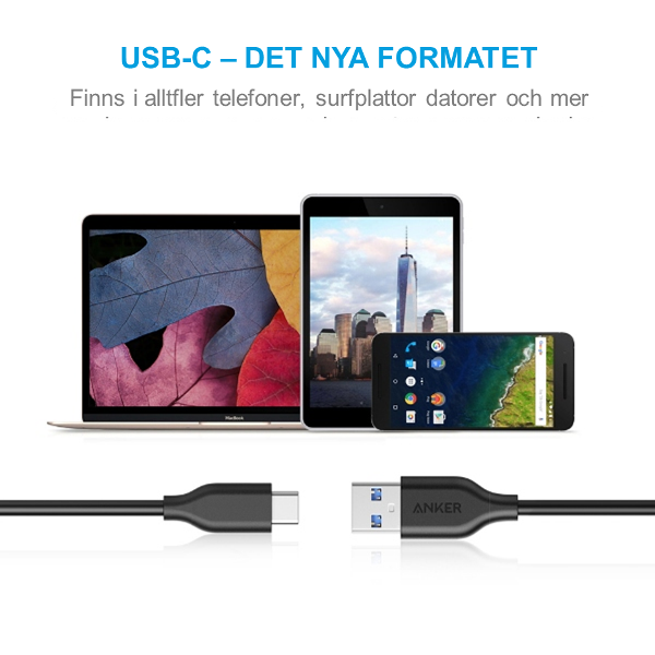 Anker PowerLine USBC kabel 90cm det nya formatet
