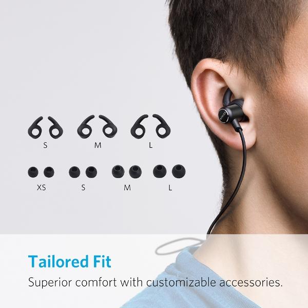 Anker SoundBuds Slim bluetooth hörlurar med olika storlekar