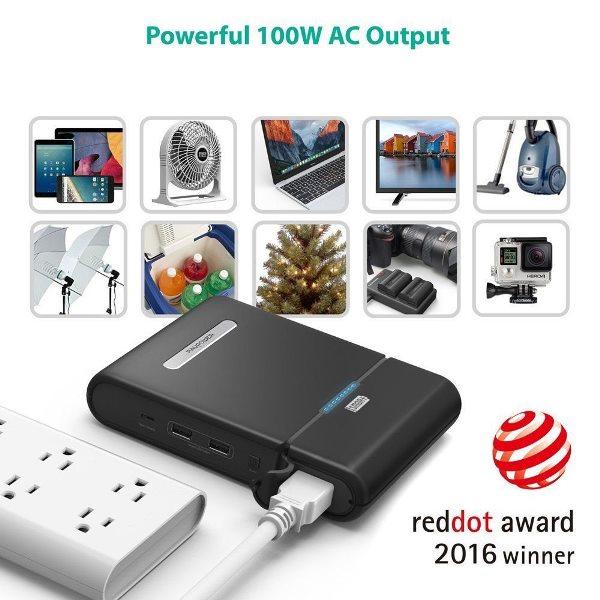 RAVPower PowerStation 27000mAh powerbank med 220V eluttag för många elektriska apparater
