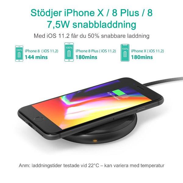 Trådlös laddare Qi snabbladdning för iPhone, Samsung