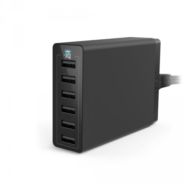 Anker PowerPort 6 mobilladdare med 6 uttag, svart