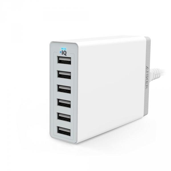 Anker PowerPort 6 mobilladdare med 6 uttag, vit