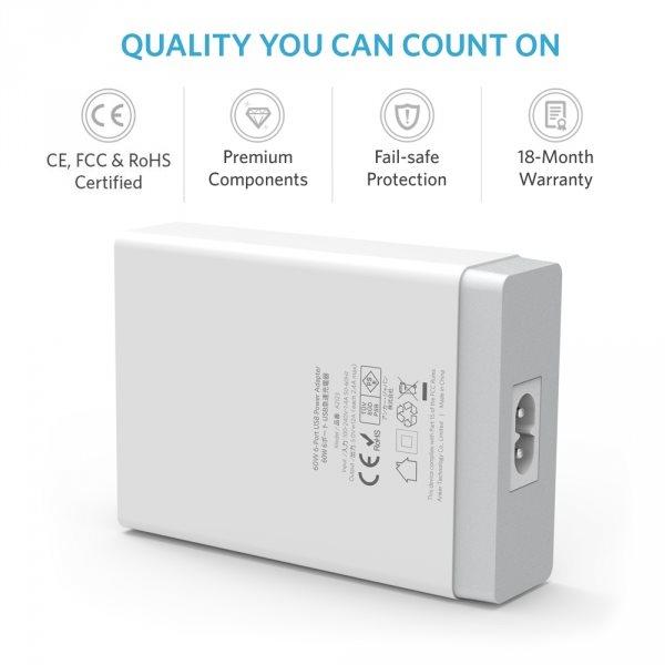 Anker PowerPort 6 mobilladdare med 6 uttag med certifieringar