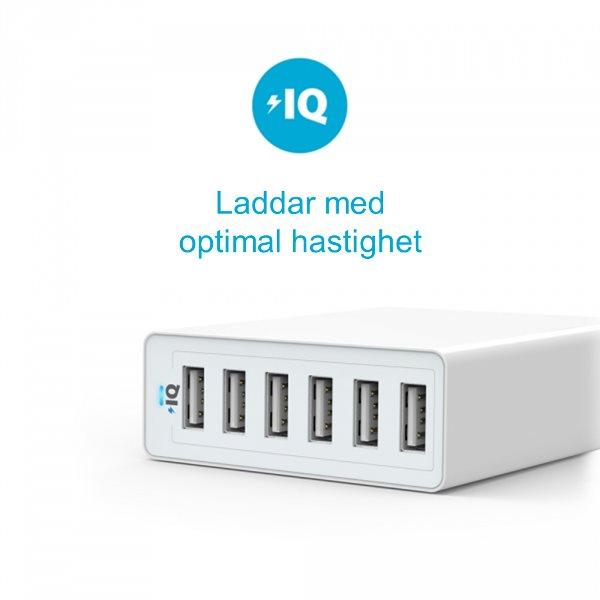 Anker PowerPort 6 mobilladdare med 6 uttag för snabb laddning av telefoner och surfplattor