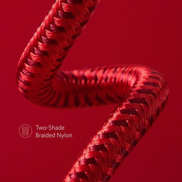 Anker PowerLine plus II 90cm röd vävd nylon i två toner