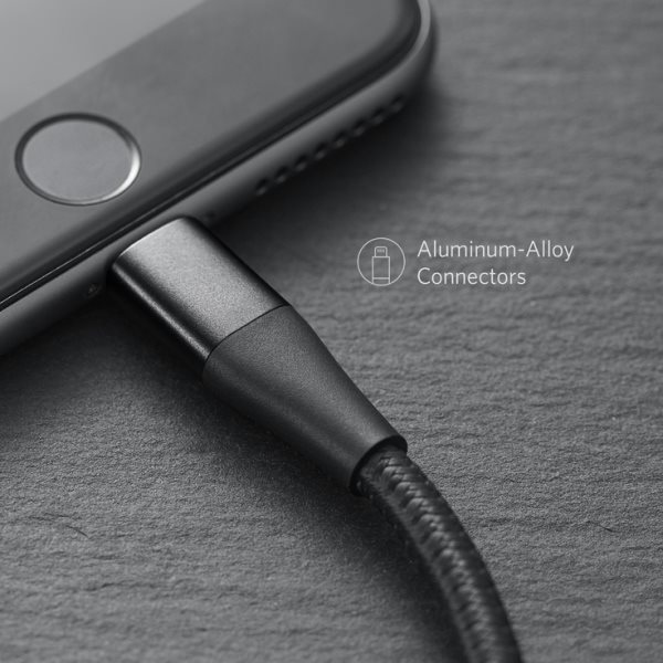 Anker PowerLine+ II 180cm svart ergonomiska kontakter