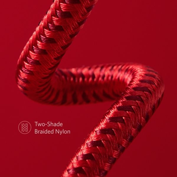 Anker PowerLine+ II 180cm röd vävd nylon i två toner