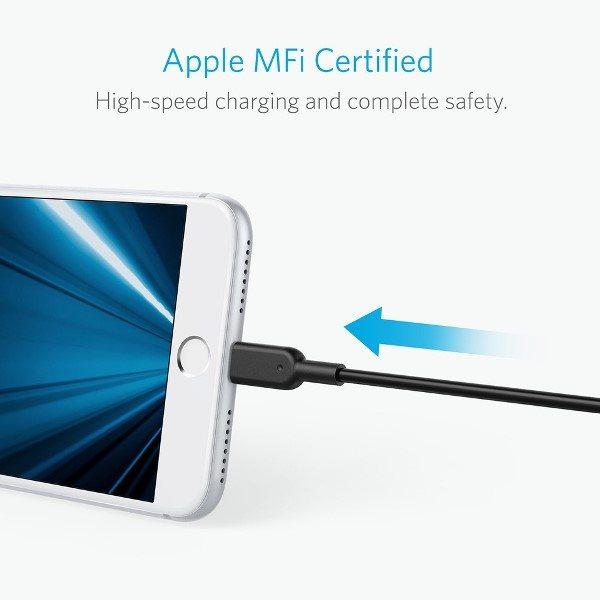 Anker PowerLine II Dura 180cm svart mfi certifierad för Apple