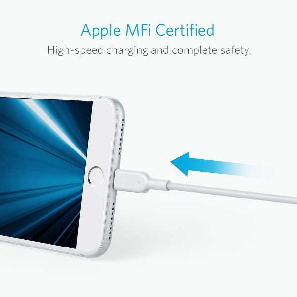 Anker PowerLine II Dura 90cm vit mfi certifierad för Apple