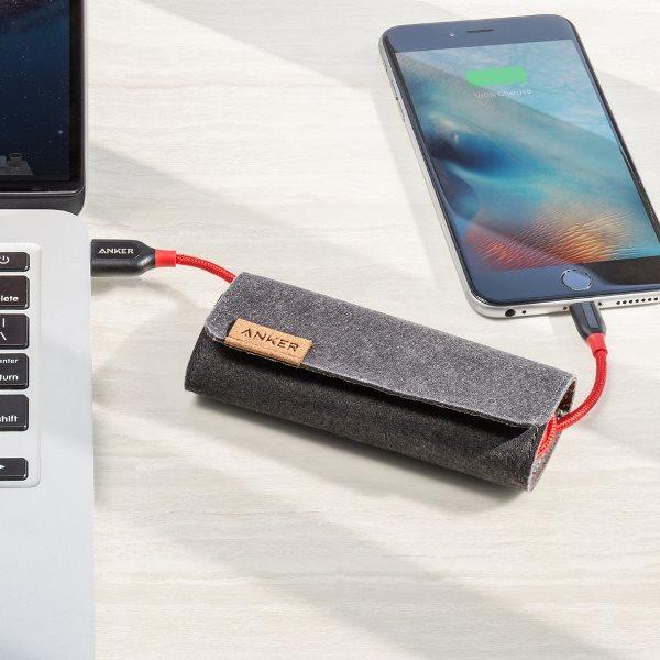 Anker PowerLine plus Lightning röd med mobil