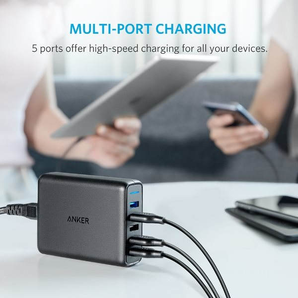 Anker PowerPort Speed 5 - Mobilladdare med Quick Charge - laddning i soffan