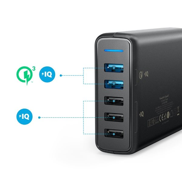 Anker PowerPort Speed 5 - Mobilladdare med Quick Charge uttag och standarduttag