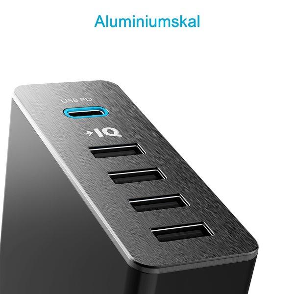 Anker PowerPort plus 5 USBC PD aluminium