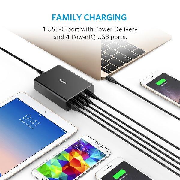 Anker PowerPort plus 5 USBC PD med 5 uttag