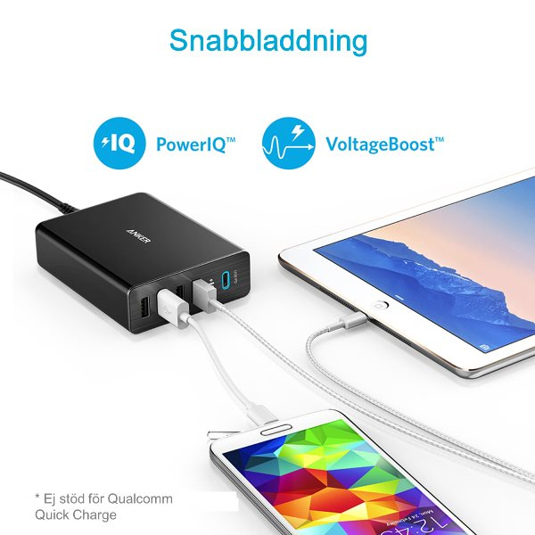 Anker PowerPort+ 5 USB C Power Delivery mobilladdare Mobilladdare och powerbanker för alla mobiler