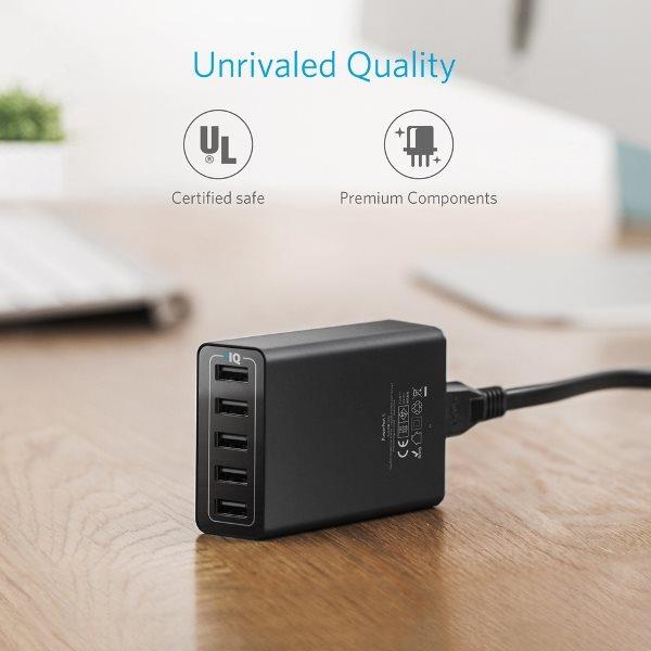 Anker Powerport 5 mobilladdare, hög kvalitet