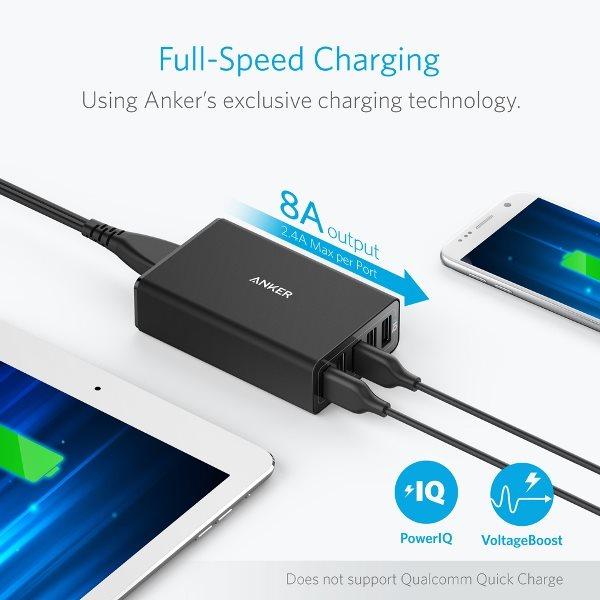 Anker Powerport 5 mobilladdare med 5 uttag och 8A, svart