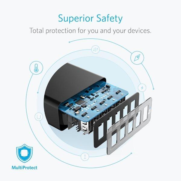 Anker Powerport 5 mobilladdare, säker