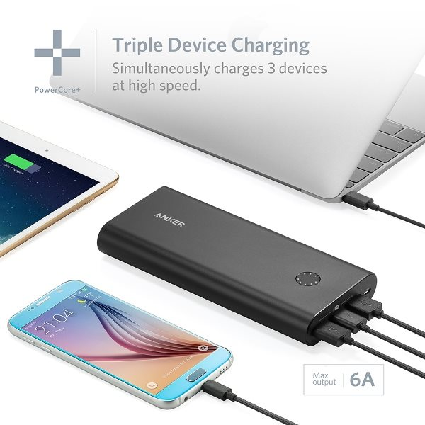 Anker PowerCore+ 26800mAh QC 3.0 powerbank med 3 uttag