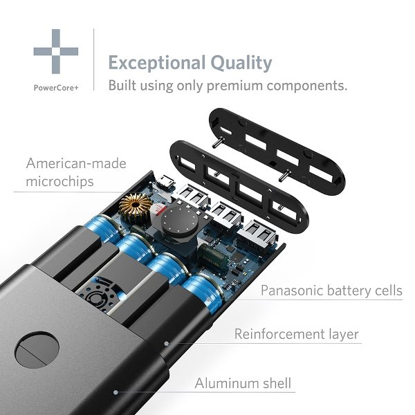 Anker PowerCore+ 26800mAh QC 3.0 powerbank med komponenter av hög kvalitet