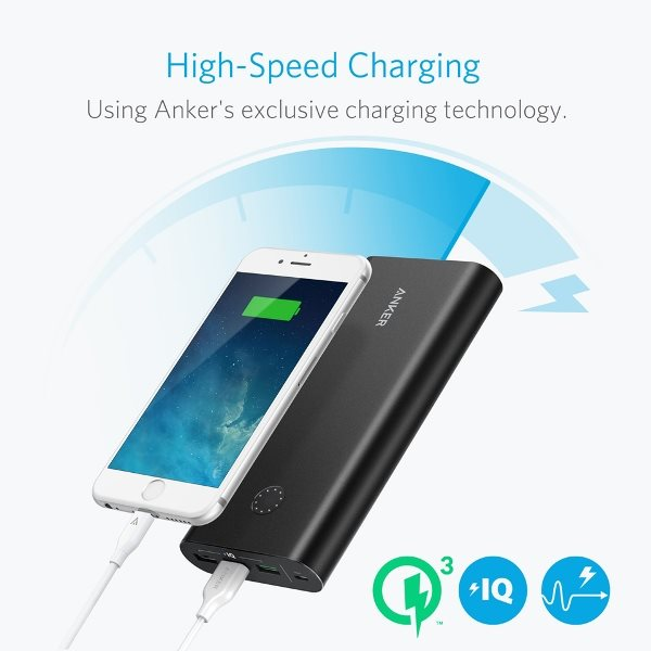 Anker PowerCore+ 26800mAh QC 3.0 powerbank laddas snabbt med Quick Charge