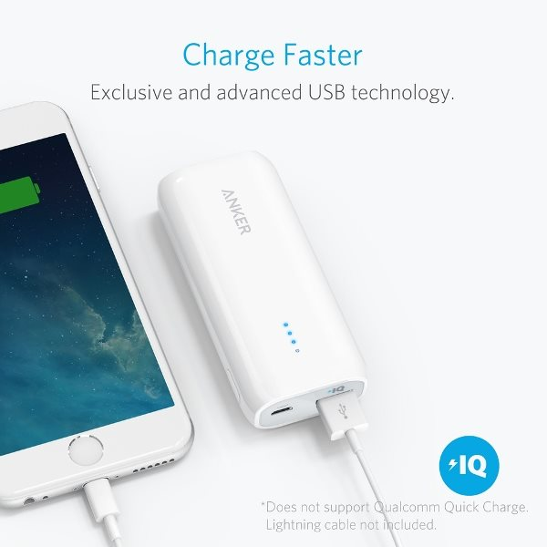 Anker 5200mah powerbank - vit - snabb laddning av iPhone