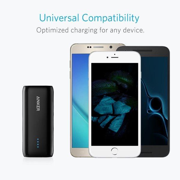 Anker 5200mah powerbank - svart - kan ladda alla telefoner