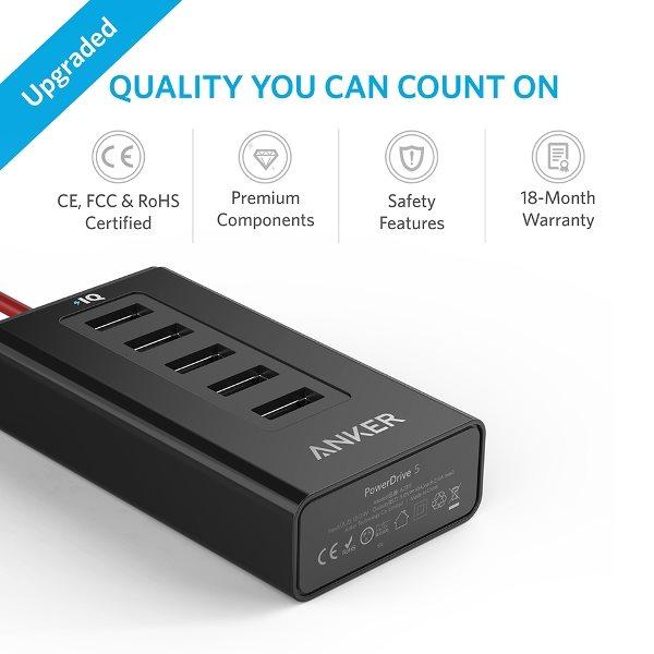 Anker PowerDrive 5 mobilladdare för bilen hög kvalitet