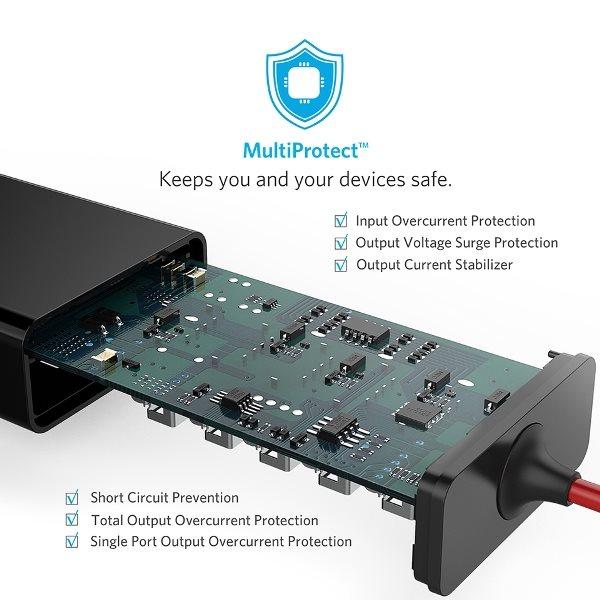 Anker PowerDrive 5 mobilladdare för bilen med skyddskretsar