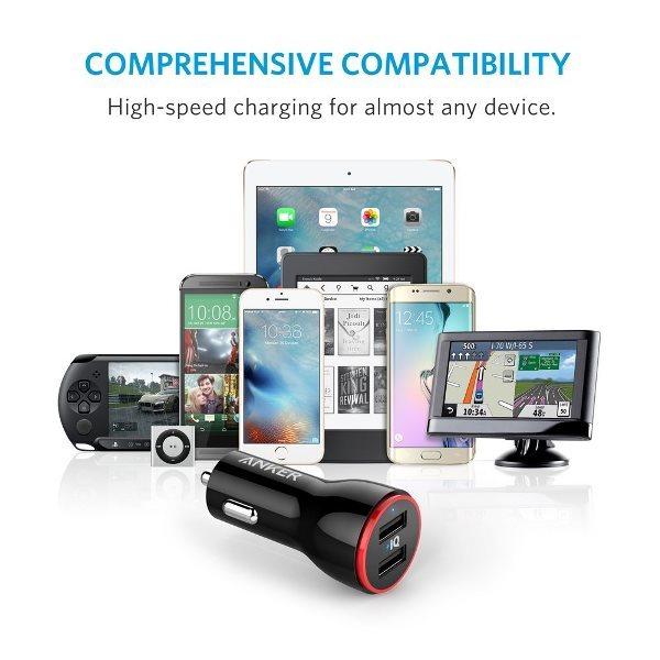 Anker PowerDrive 2 svart fungerar med alla telefoner