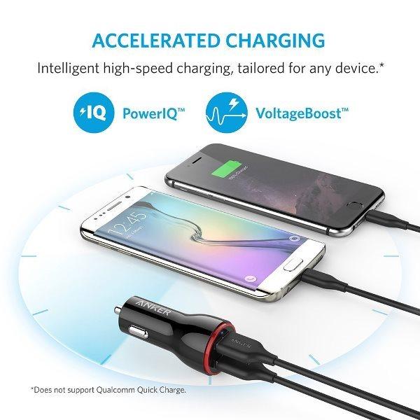 Anker PowerDrive 2 svart snabb laddning med Power IQ och VoltageBoost