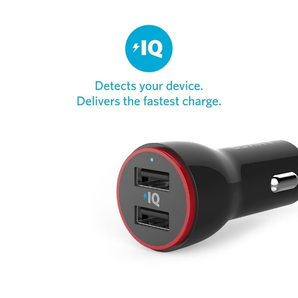 Anker PowerDrive 2 svart med PowerIQ