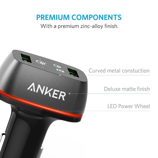 Anker PowerDrive Plus 2 med QC3.0 svart finish