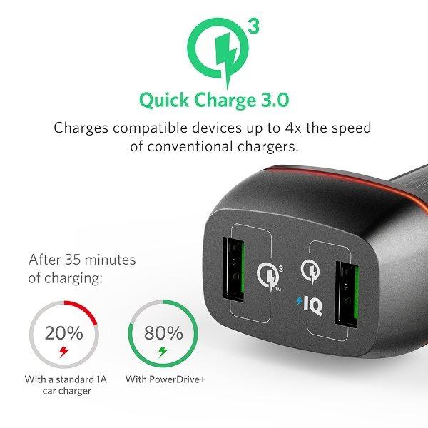 Anker PowerDrive Plus 2 med QC3.0 svart för snabbare laddning
