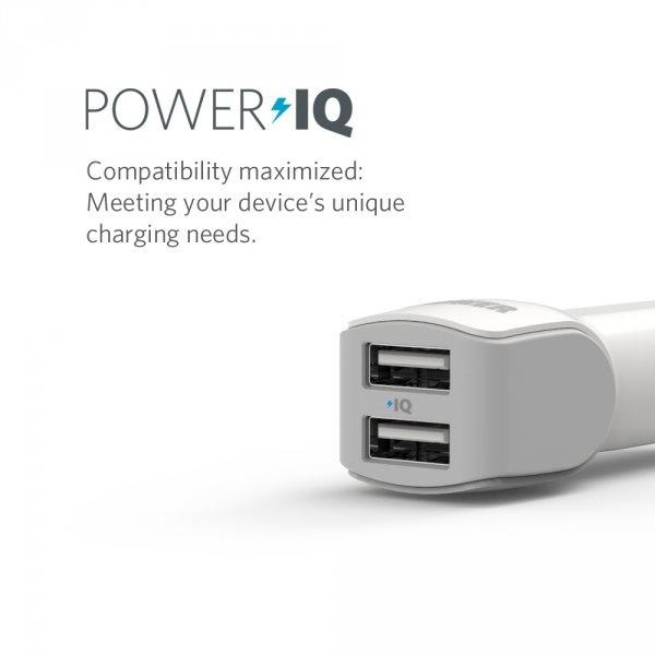 Mobilladdare för bilen, 2 uttag, vit med Power IQ